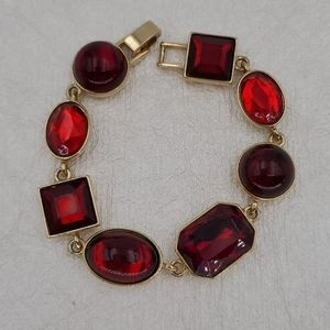 Liz Claiborne Red & Gold Bracelet